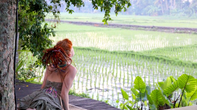 Rainbow Pammy doing Yoga by the Rice Terraces